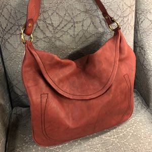 Frye Burgundy Leather Hobo Slouch Shoulder Bag